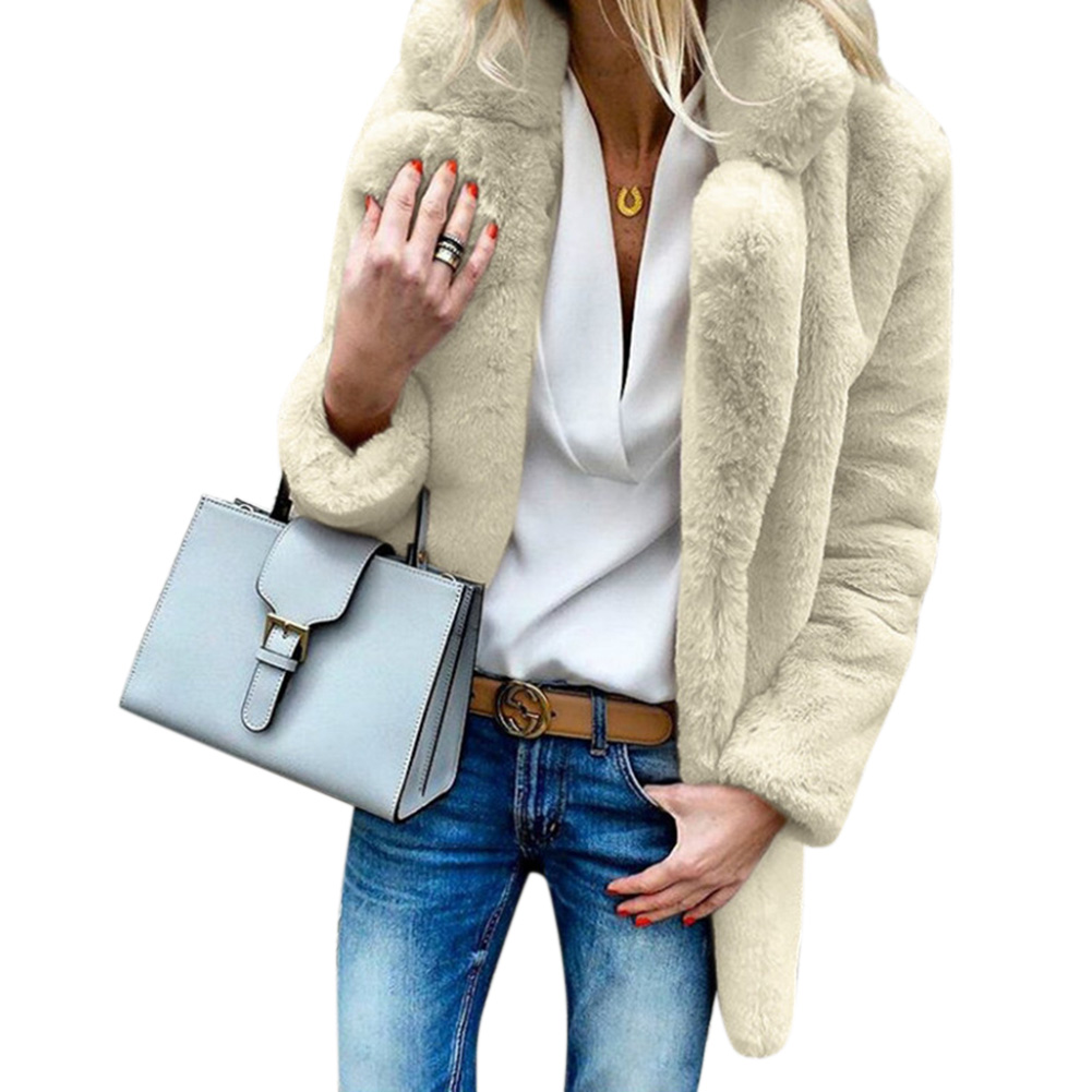 Women Furry Coat Solid Color Long Sleeve Lapel Soft Fleeced Jacket Outwear Top