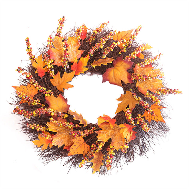 Thanksgiving Day Door Simulation Berry Maple Leaf Door Wall Ornament Large Wreath Garland