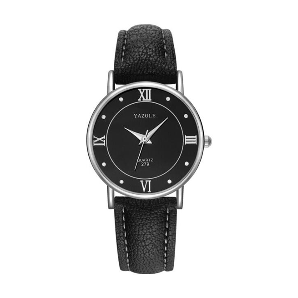 Lovers Business Fashion Leisure Simple Type Quartz Wristwatch small black dial black belt
