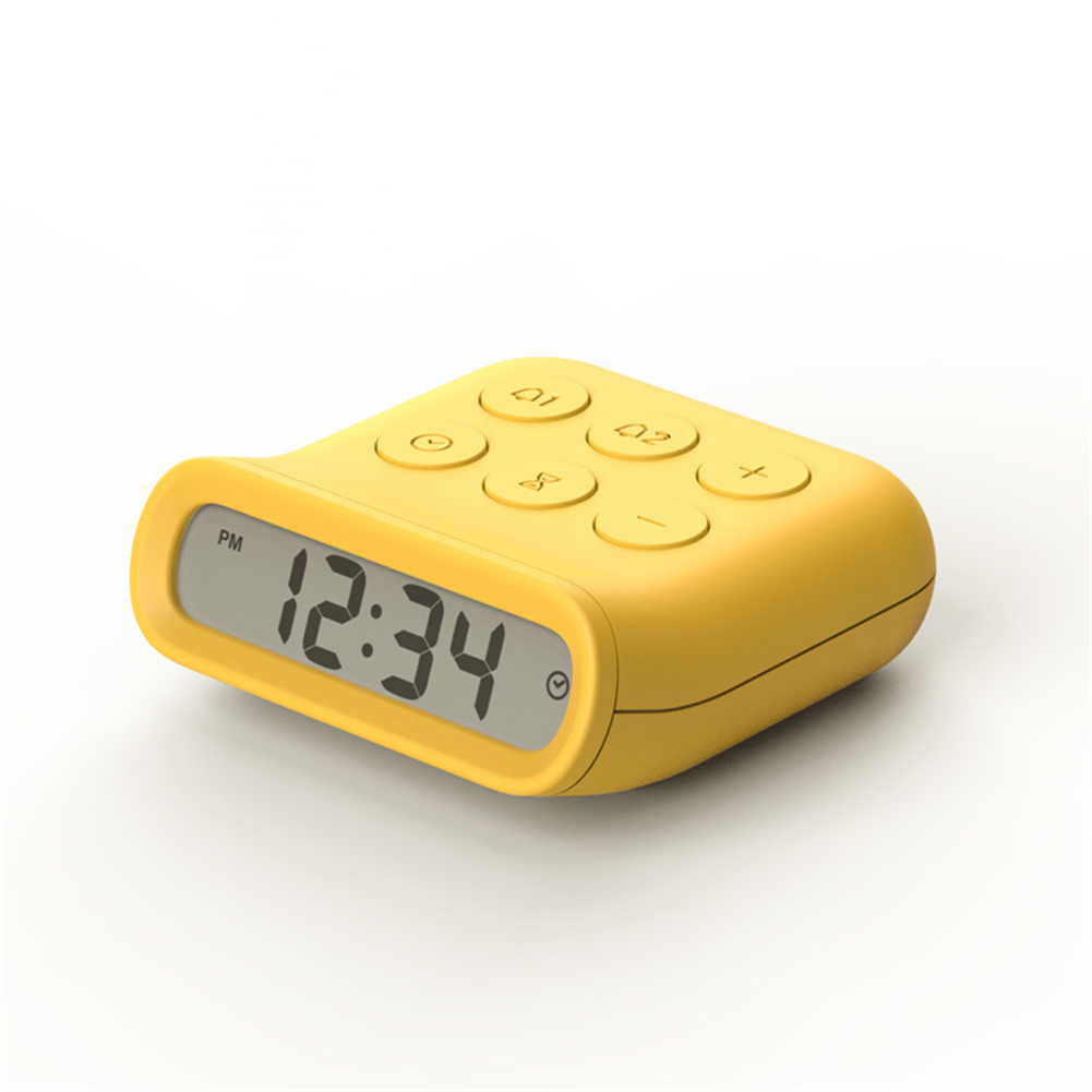 Mini Alarm  Clock With Lcd Luminous Household Electronic Silent Timer For Make Up yellow