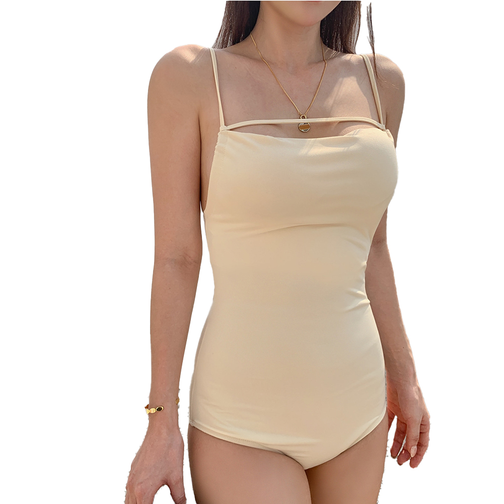 Women Swimsuit Nylon Solid Color Slimming Solid Color Sling Swimwear Beige_M