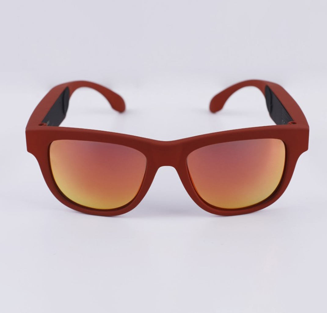 G1 Bone Conduction Music Playing Headset Polarized Glasses Sunglasses Red frame red lens