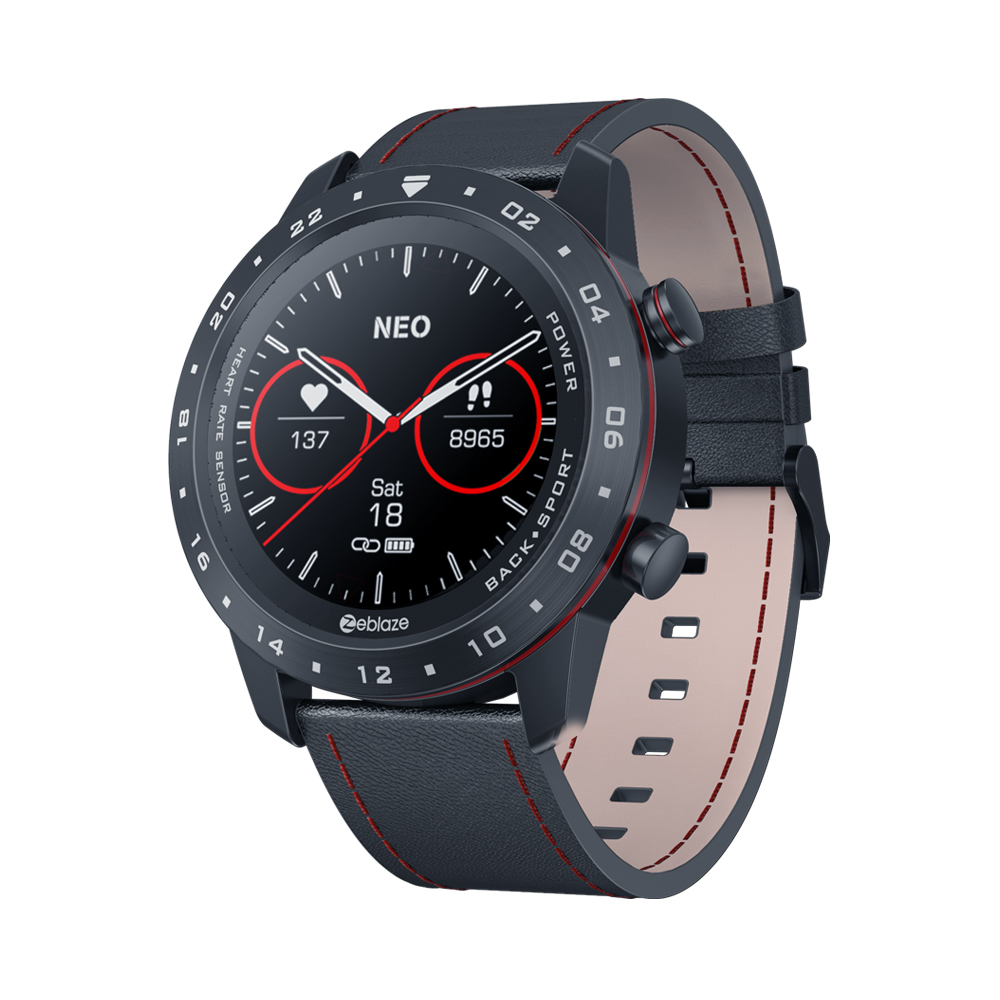 Zeblaze NEO 2 Smart Watch Android IOS Heart Rate Monitoring Round Dial Full Touch Screen Bracelet Black