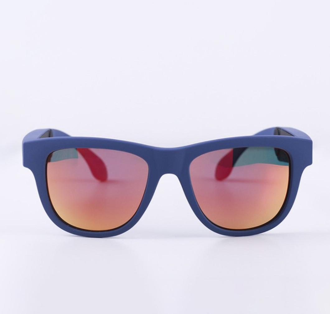 G1 Bone Conduction Music Playing Headset Polarized Glasses Sunglasses Blue Frame Red Lenses