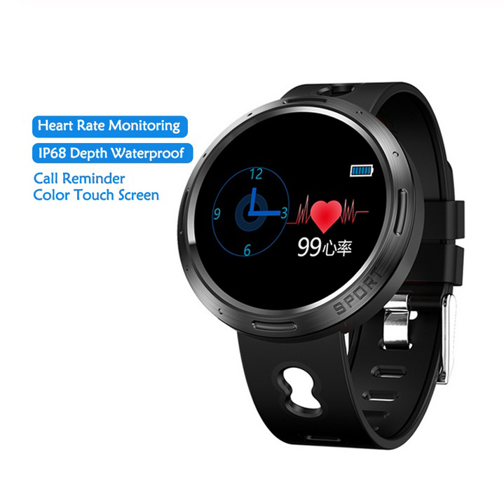 Men Women M58 Smart Watch Waterproof  IP68 Color Screen Fitness Bracelet Heart Rate Monitor Watches For Android iOS Phone  Black