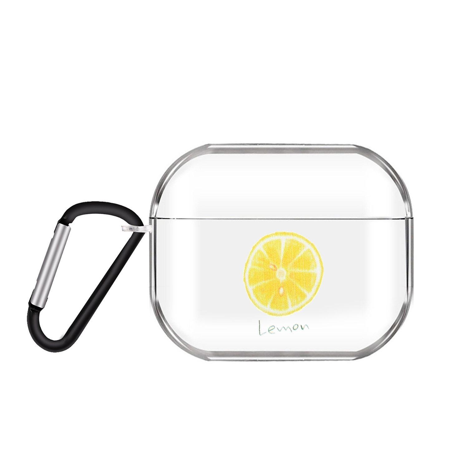 For AirPods Pro Headphones Case Cartoon Clear Earphone Shell with Metal Hook Full Protection Cover 13 lemons