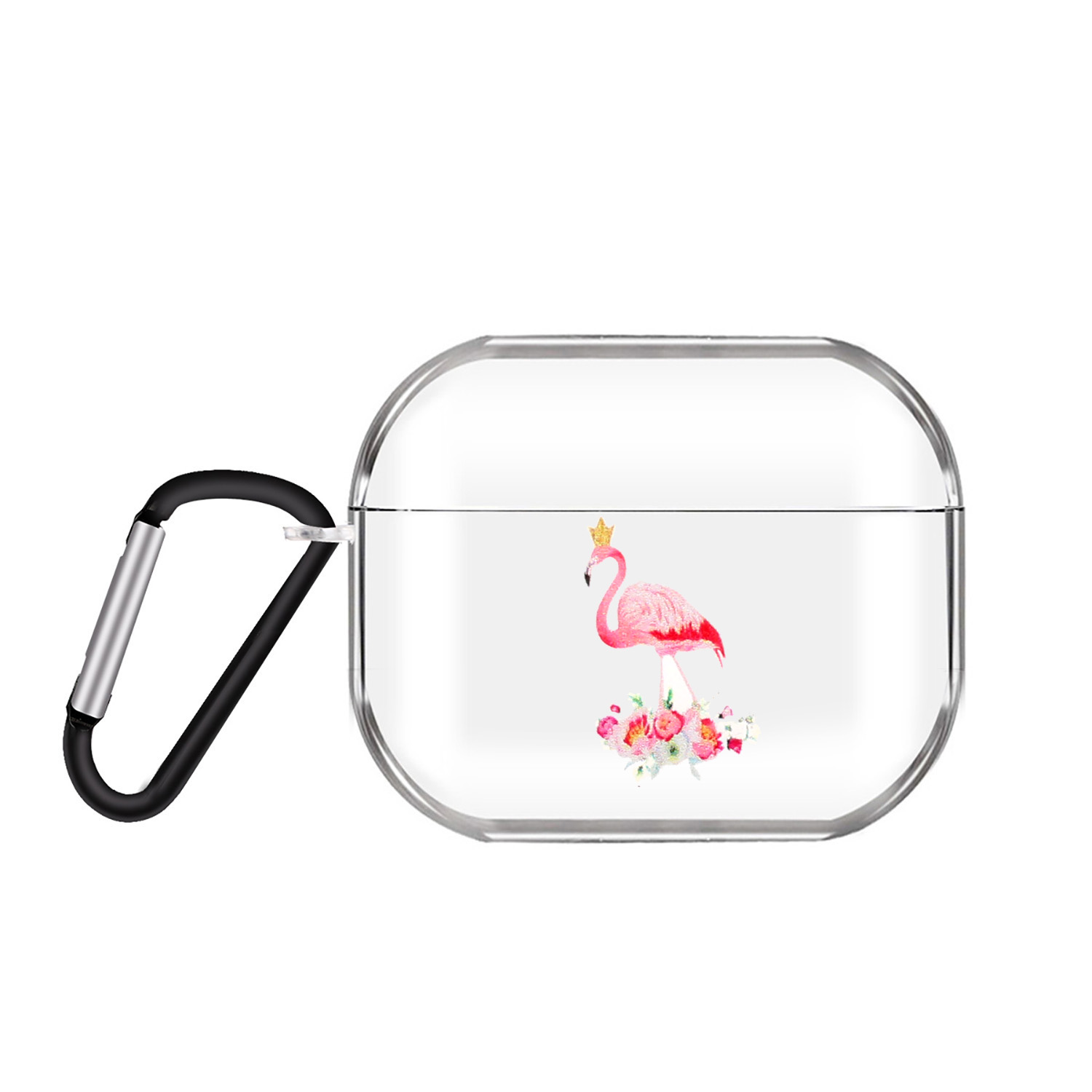 For AirPods Pro Headphones Case Cartoon Clear Earphone Shell with Metal Hook Full Protection Cover 14 Flamingo