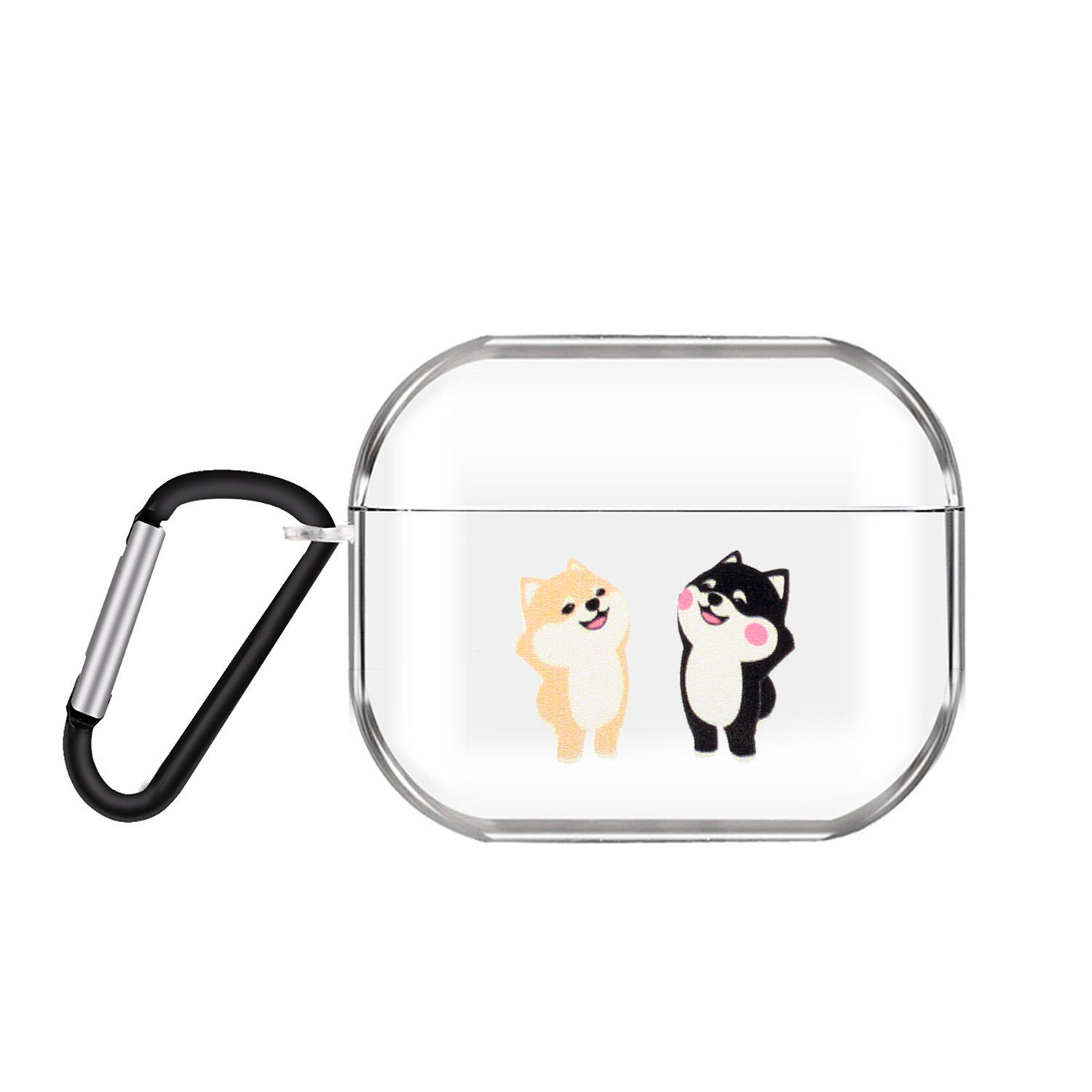 For AirPods Pro Headphones Case Cartoon Clear Earphone Shell with Metal Hook Full Protection Cover 15 cats