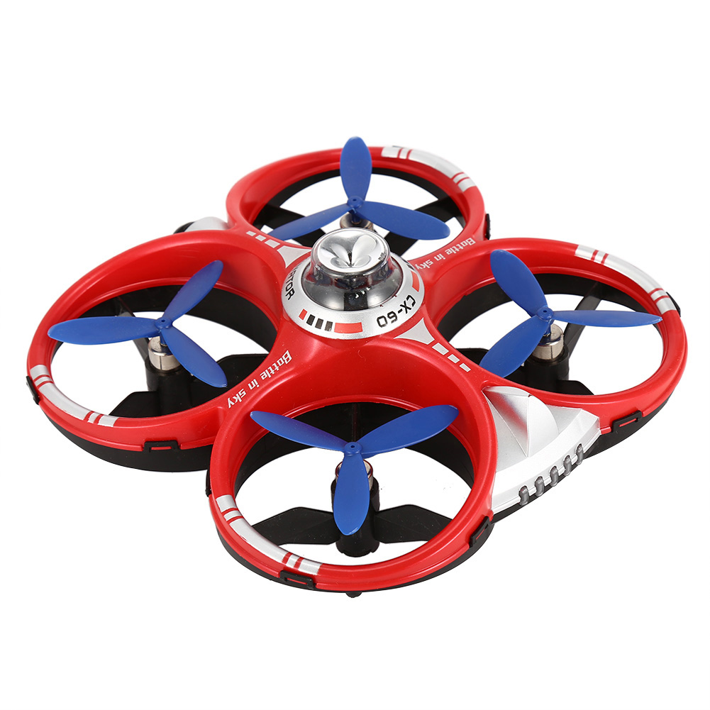 CX-60 AIR Dominator 2.4G 4CH 6 Axis Gyro Mobile WIFI RC Infrared Fighting Drones-Red+Blue(2pcs)