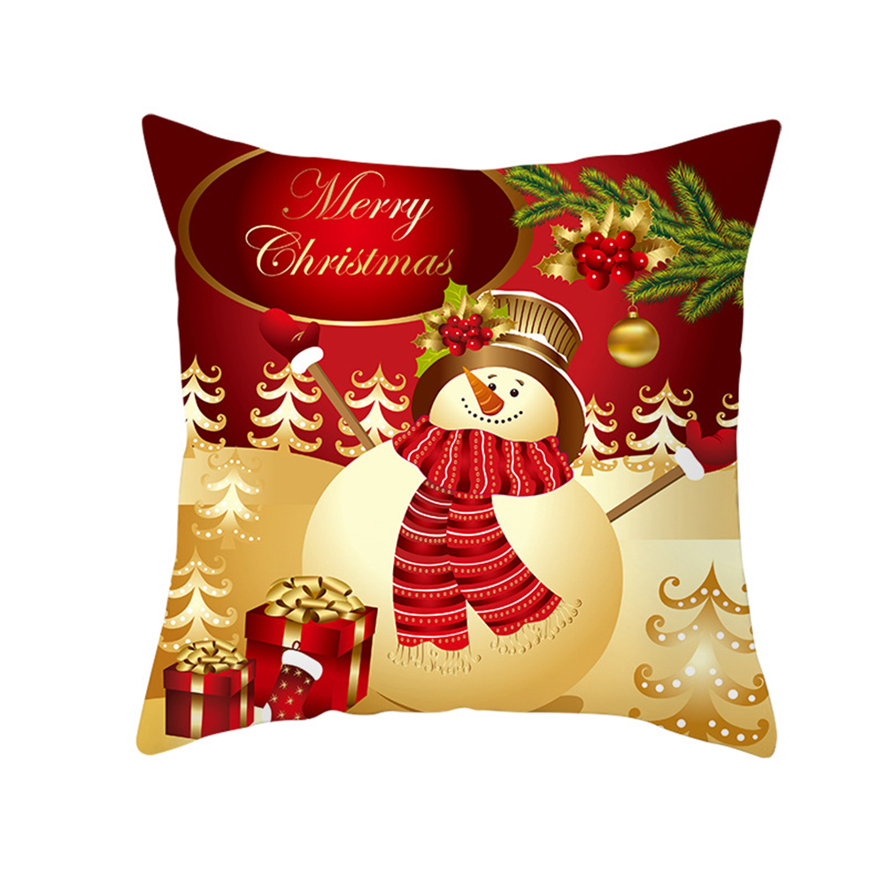 Christmas Cushion Cover 45*45 Red Merry Christmas Printed Polyester Decorative Pillows Sofa Decoration 26