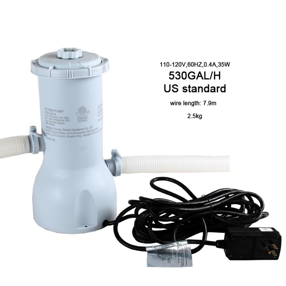 [US Direct] Swimming Pool Filter Pump Reusable Pool Filter Pump Water Cleaner Electric Filter Pump US regulations 110-120V