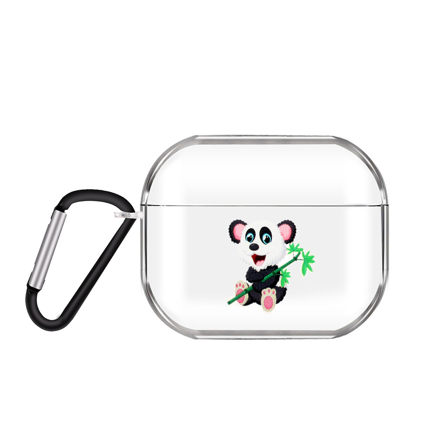 For AirPods Pro Headphones Case Transparent Earphone Shell with Metal Hook Overall Protection Cover 10 Panda