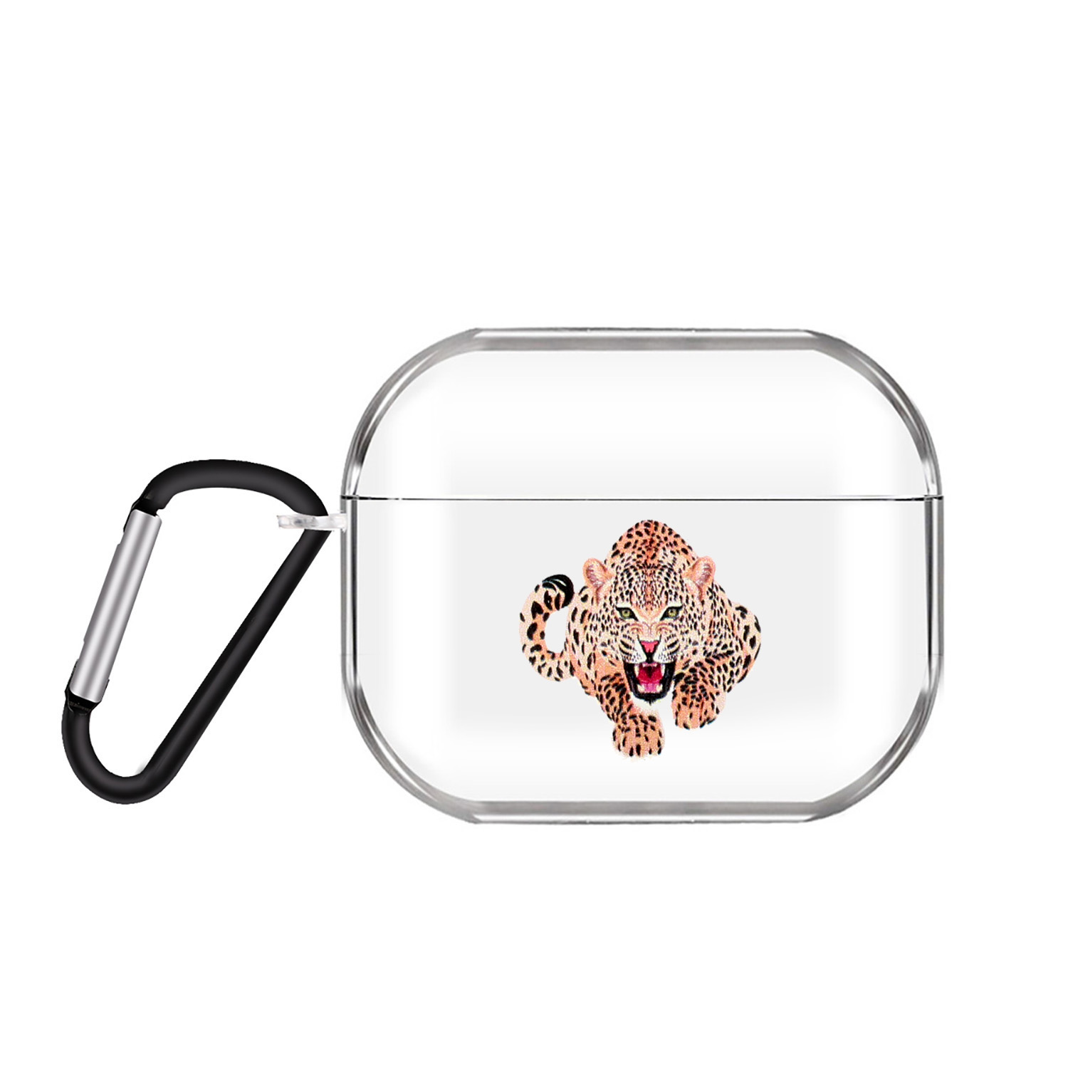 For AirPods Pro Headphones Case Clear Cute Earphone Shell with Metal Hook Overall Protection Cover 16 tigers