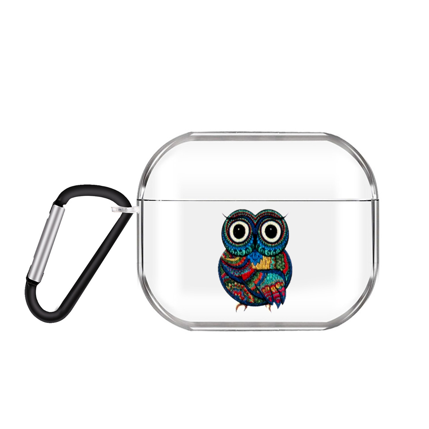 For AirPods Pro Headphones Case Transparent Earphone Shell with Metal Hook Overall Protection Cover 9 Owl