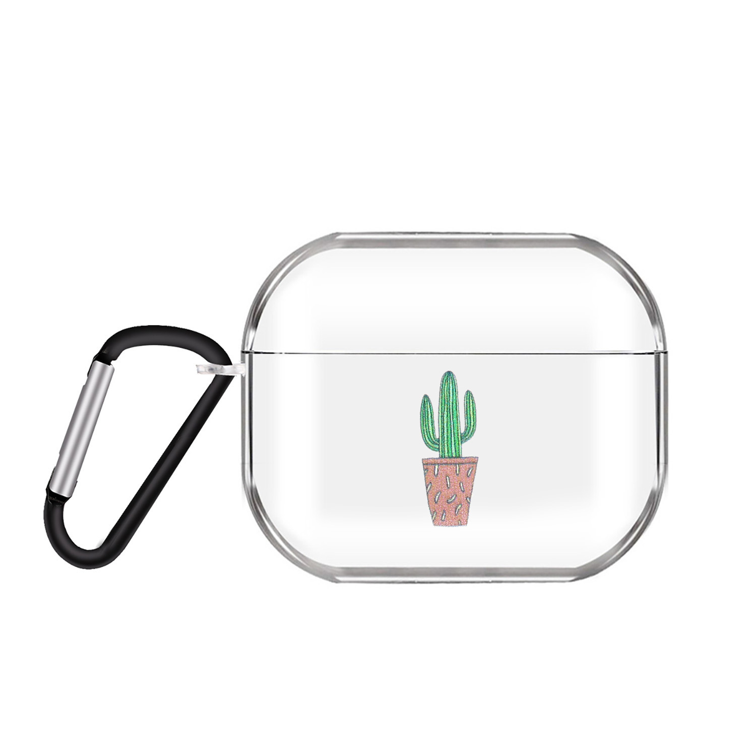 For AirPods Pro Headphones Case Transparent Earphone Shell with Metal Hook Overall Protection Cover 8 cactus