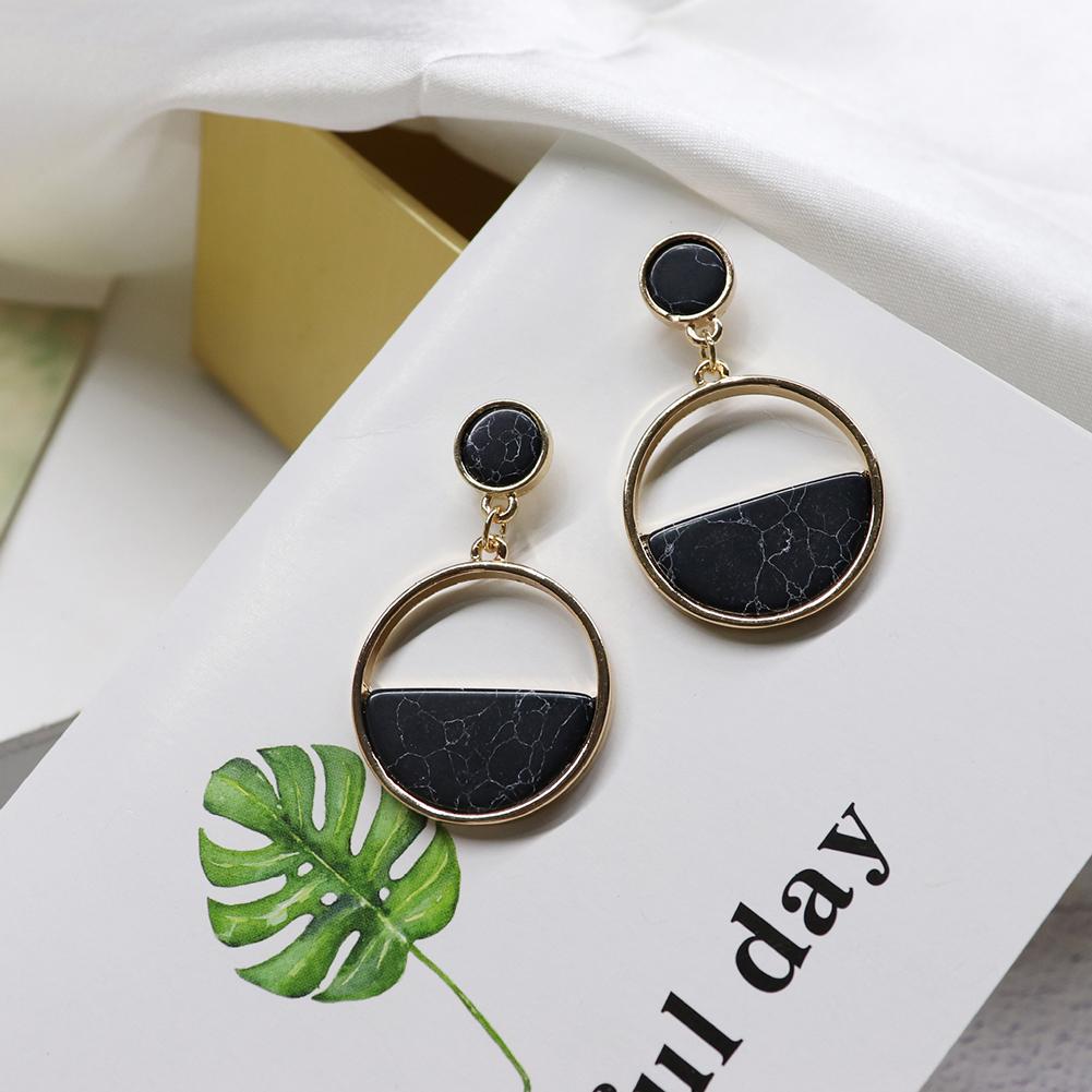 Women Fashion Simple Geometric Circular Marble Long Earrings Popular Earrings