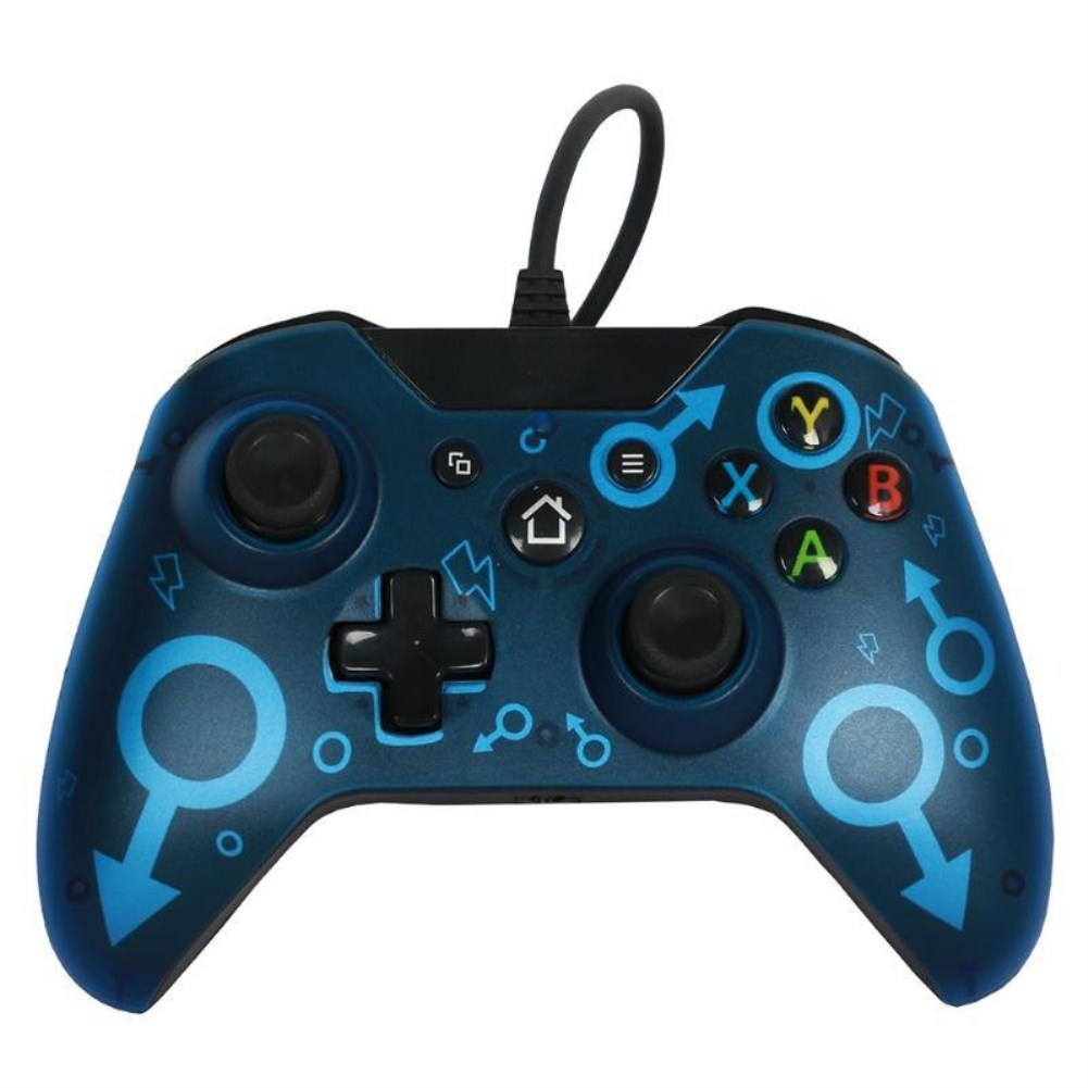 Wired Gaming Controller PC Interface Dual-Vibration blue
