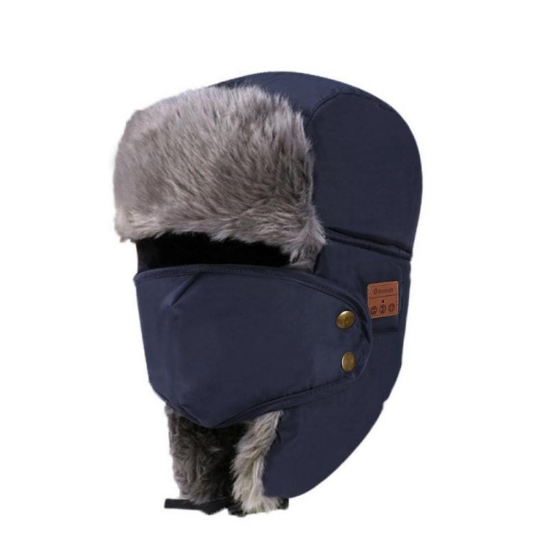 Unisex Women Men Cotton Winter Warm Bluetooth 5.0 Wireless Headset Cap Earphone Hat Navy blue