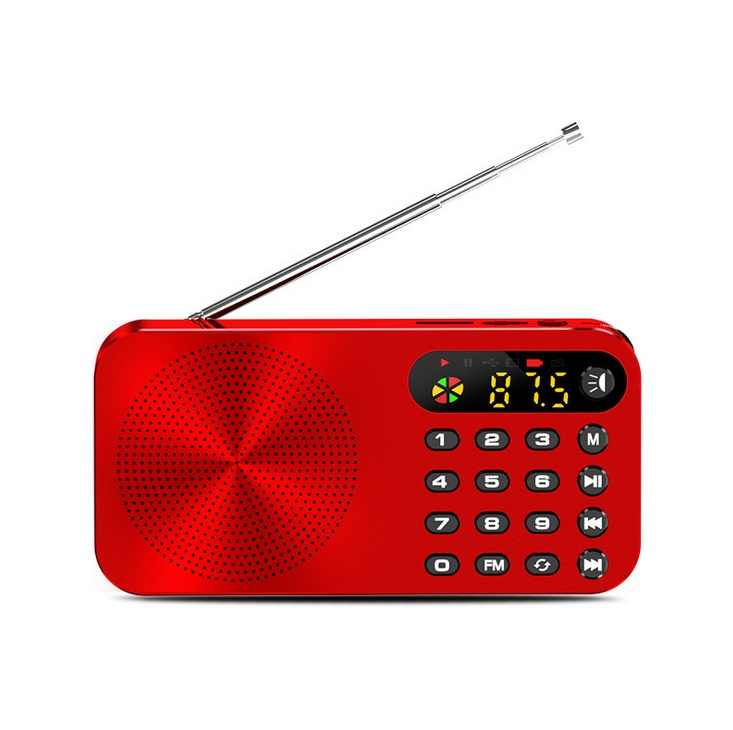 Q6 Multi-function Fm Radio 3600mah Battery Rechargeable Led Digital Display Radio red