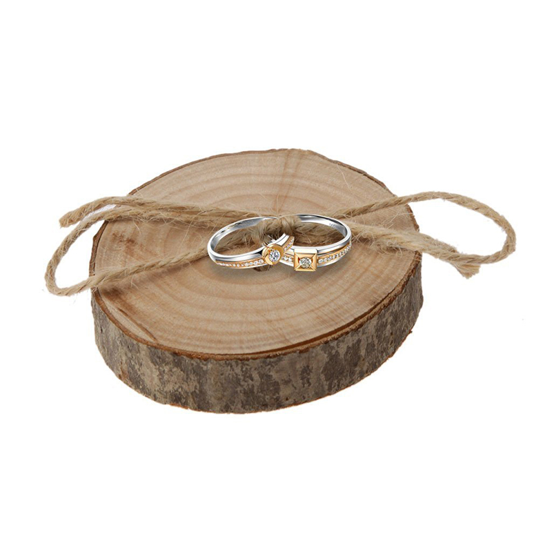 Wedding Natural Wooden Finger Ring Pillow Rustic Country Ring Engagement Ring Bearer Wood Pallet Woody