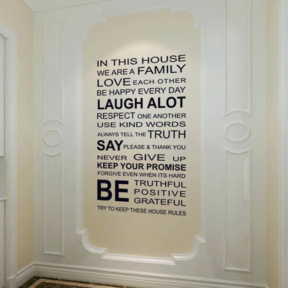 Removable In This House Quote Wall Sticker for Home Art Decor black