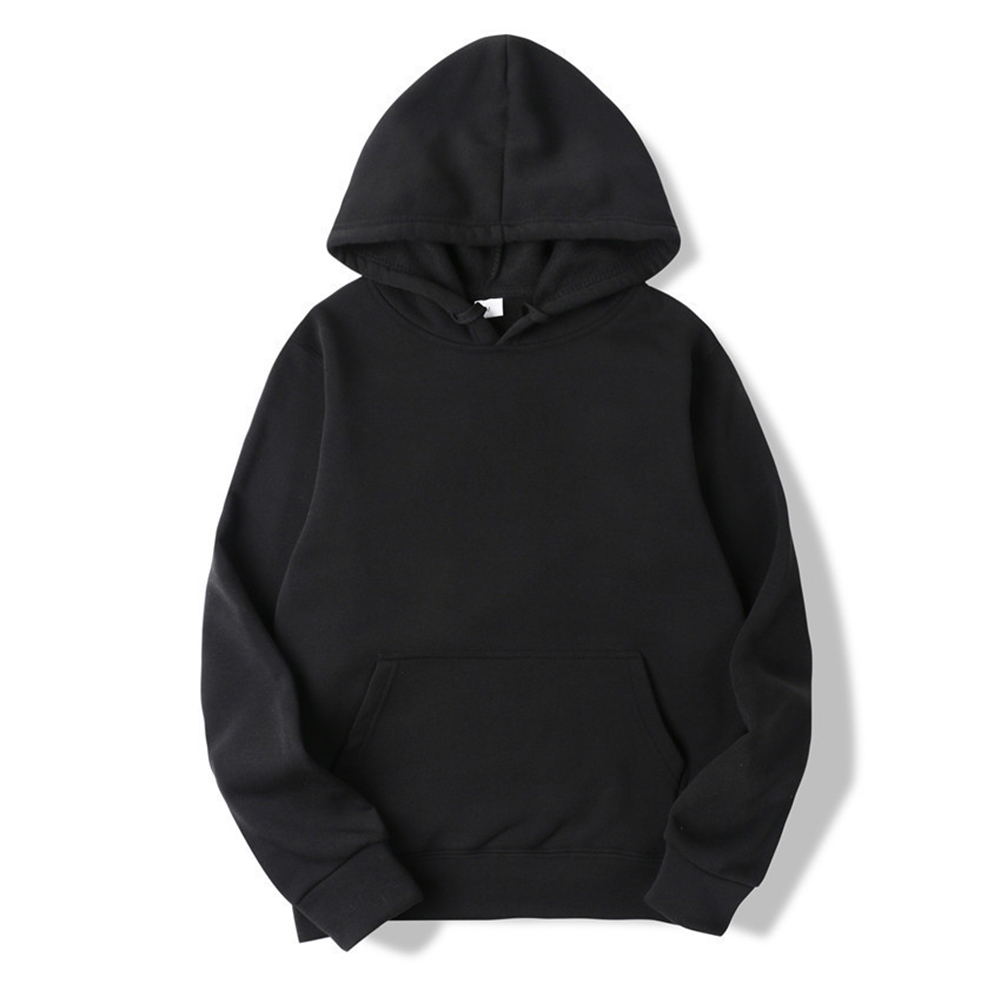 Men's Hoodie Autumn and Winter Loose Long-sleeve Velvet Solid Color Pullover Hooded Sweater black_XL