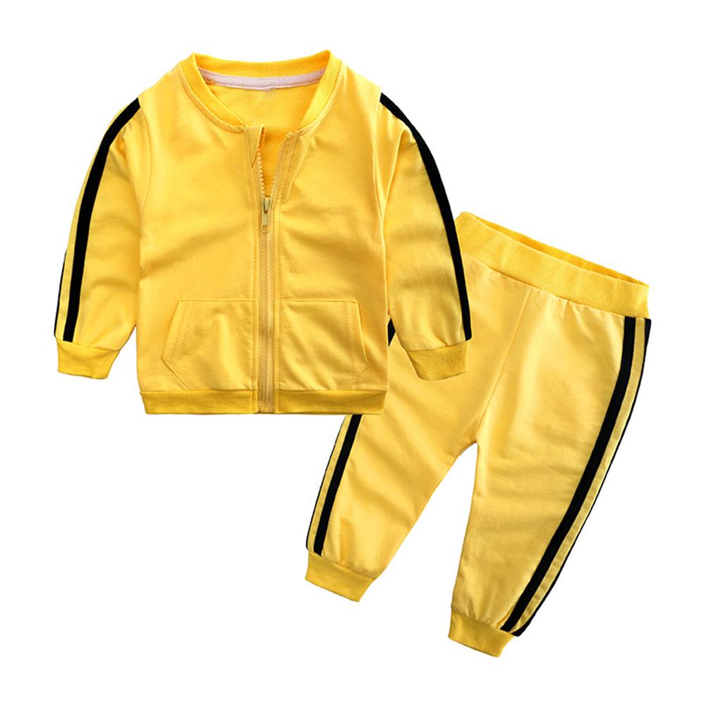 2pcs/set Unisex Children Casual Sports Fashion Zipper Coat + Trousers yellow_80