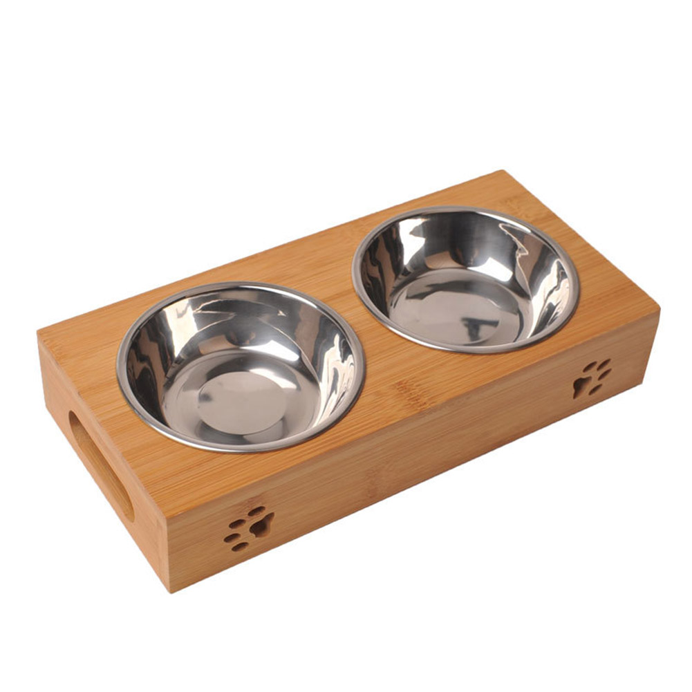 Stainless Steel Feeding Water Bowls with Bamboo Frame for Dogs Cats Pet Bamboo frame stainless steel double bowl
