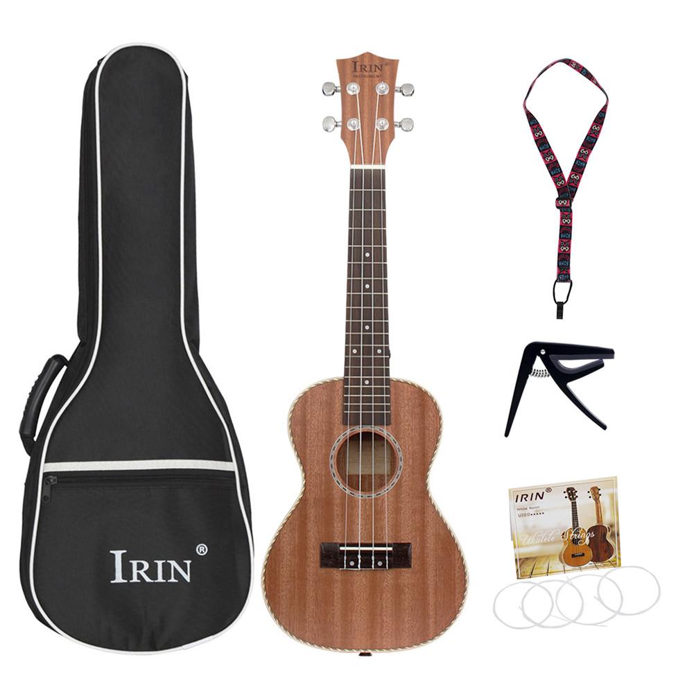 23-inch Professional Sapele Soprano Ukulele Hawaii Guitar Wood Ukulele Musical Instruments for Beginner Gift Wood color