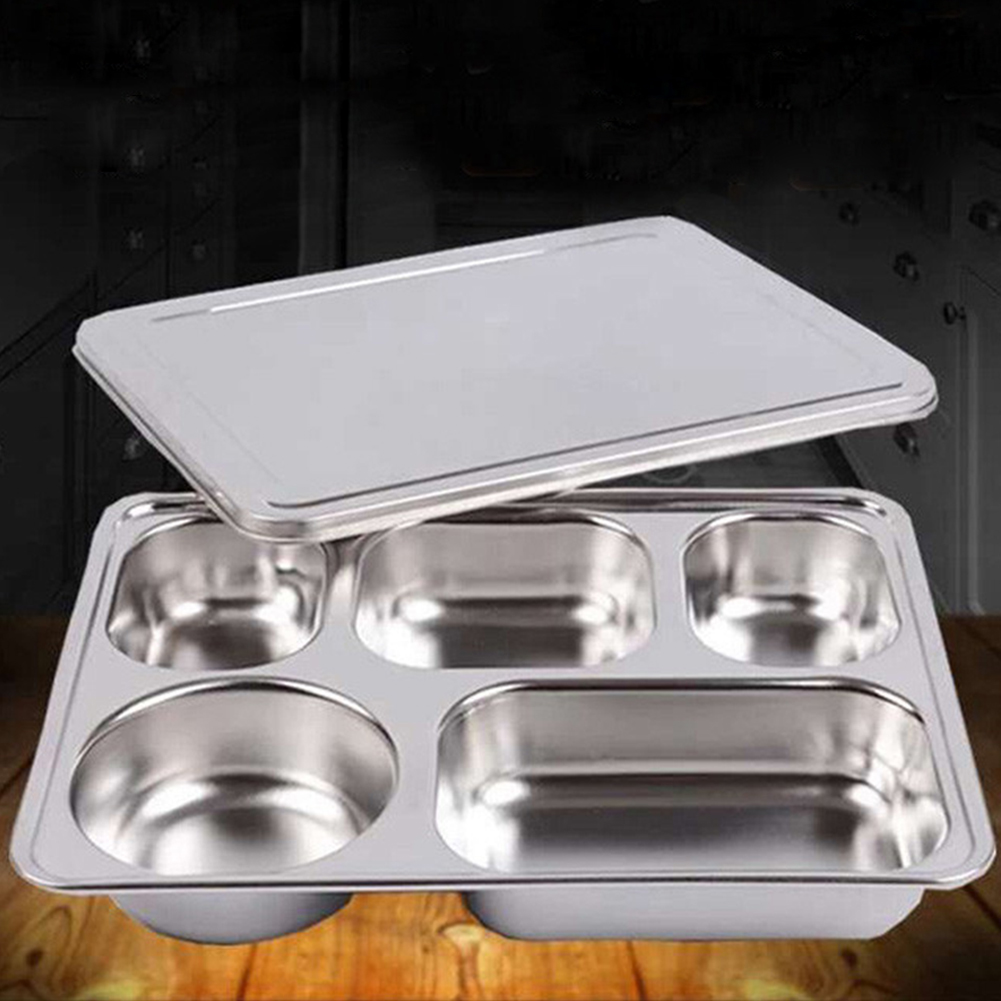 Stainless Steel Lunchbox Divided Lunch Food Container Bento Box Tray with Cover 304 material_5 grid thick section