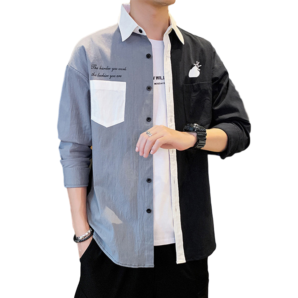 Men Shirt Long Sleeve Autumn Teenagers Loose Color Matching Blouse Gray-black_2XL