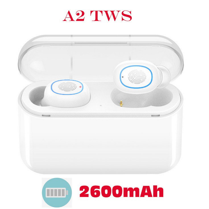 TWS Bluetooth 5.0 Earphones Headphones In-ear Headset Sports Earbud for android ios all smart earphone White 2600 mAh