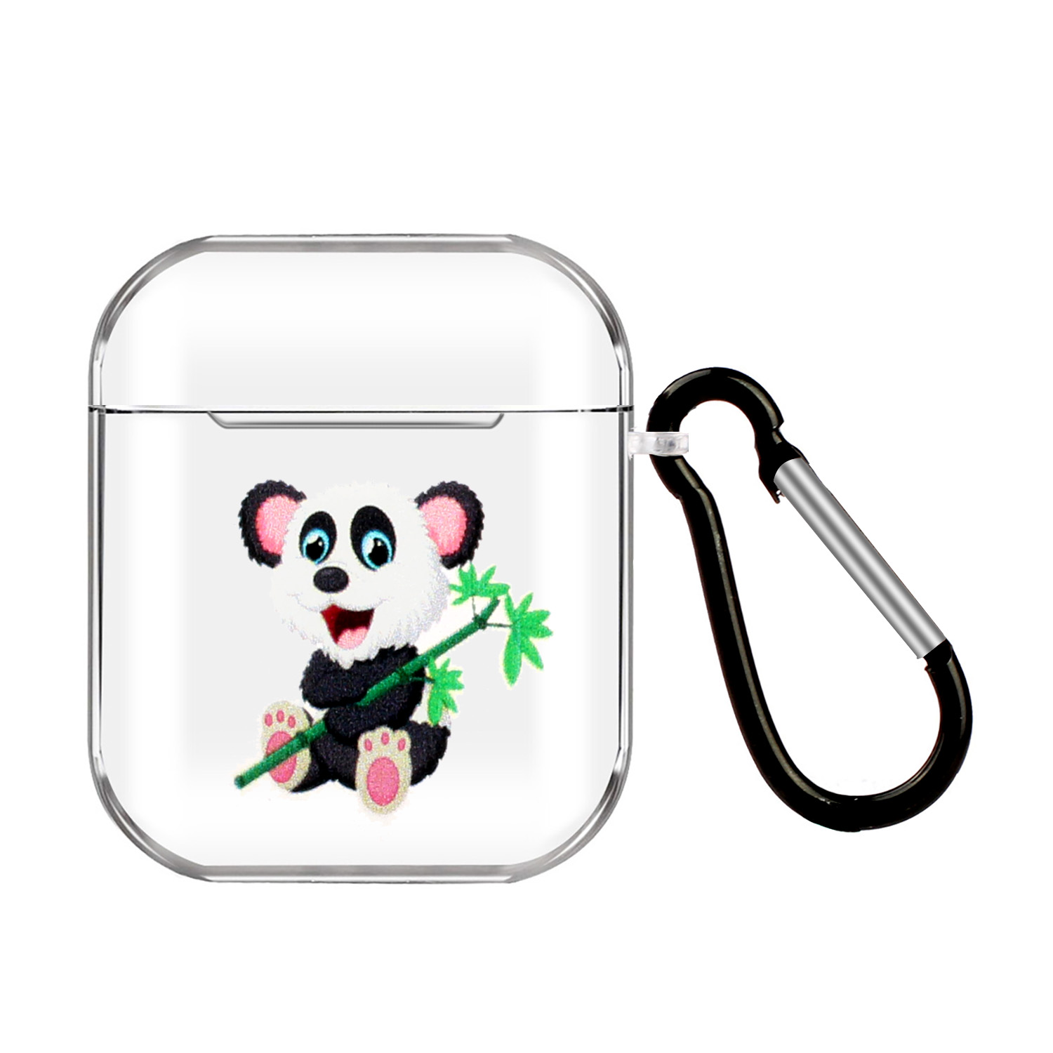 For AirPods 1/2 Headphones Case Portable Clear Cute Earphone Shell with Metal Hook Overall Protection 10 Panda