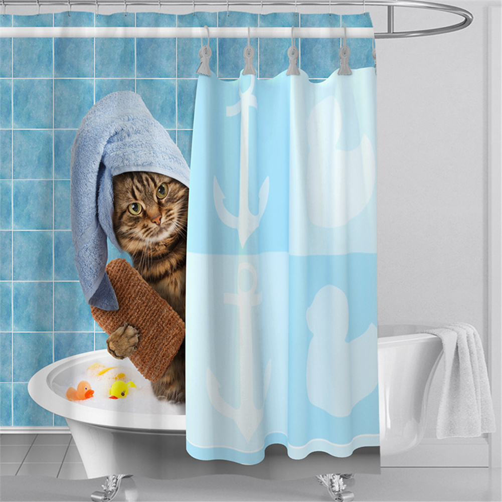 Digital Cat Printing Shower  Curtain For Bathroom Decor For Women Men Kids Girls Bathing cat_180*200cm