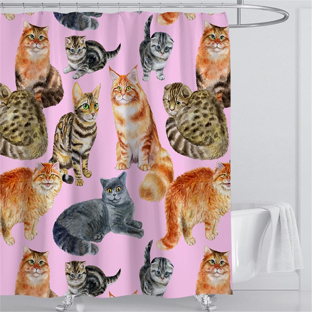 Digital Cat Printing Shower  Curtain For Bathroom Decor For Women Men Kids Girls Hand drawn cat_180*200cm