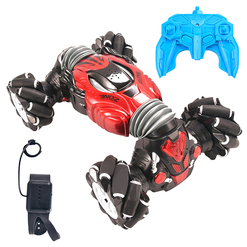 Remote Control Stunt Car Gesture Induction Twisting Off-Road Vehicle Light Music Drift Dancing Side Driving RC Toy Gift for Kids red