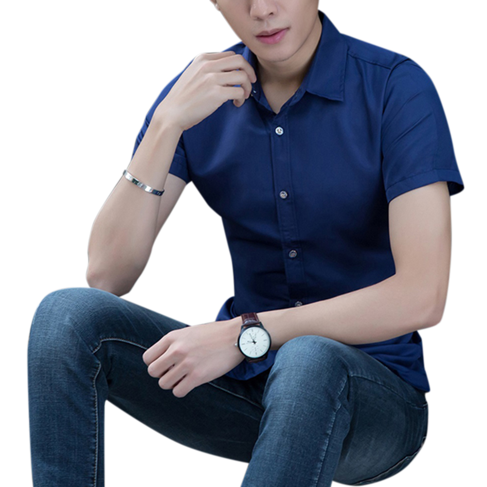 Men Fashion Short-sleeved Shirt blue L