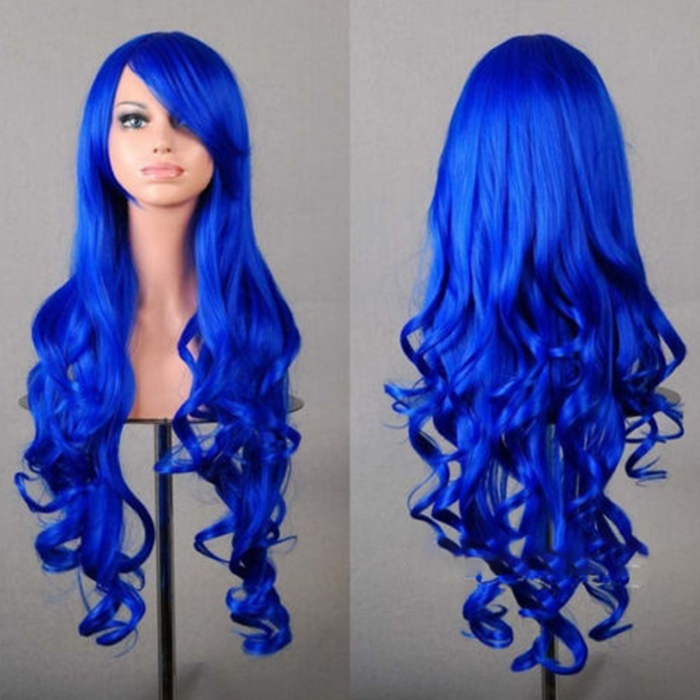 Wavy Hair Cosplay Long Wigs for Women Ladies Heat Resistant Synthetic Wig Royal blue