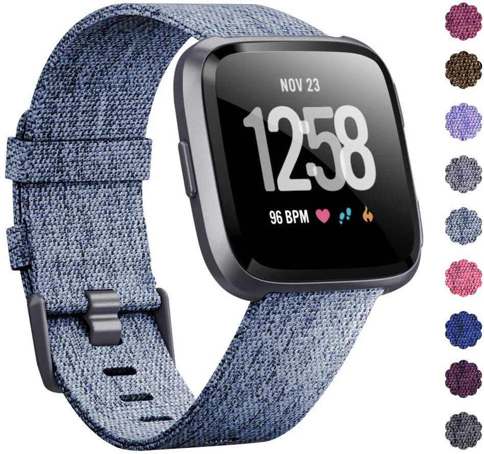 Woven Watch Band Compatible with Fitbit Versa/Fitbit Versa 2/Fitbit Versa Lite Edition Breathable Fabric Strap for Men Women Smartwatch Light blue