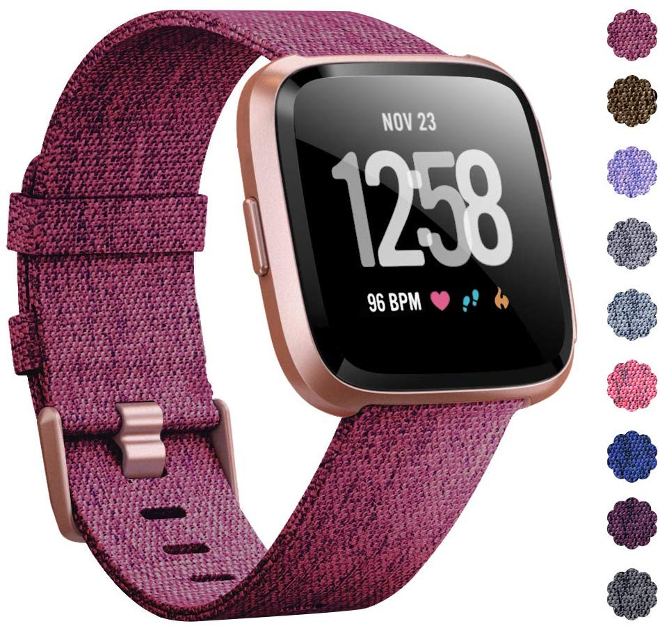 Woven Watch Band Compatible with Fitbit Versa/Fitbit Versa 2/Fitbit Versa Lite Edition Breathable Fabric Strap for Men Women Smartwatch rose red