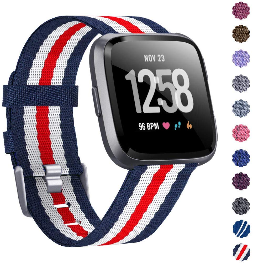 Woven Watch Band Compatible with Fitbit Versa/Fitbit Versa 2/Fitbit Versa Lite Edition Breathable Fabric Strap for Men Women Smartwatch red stripes