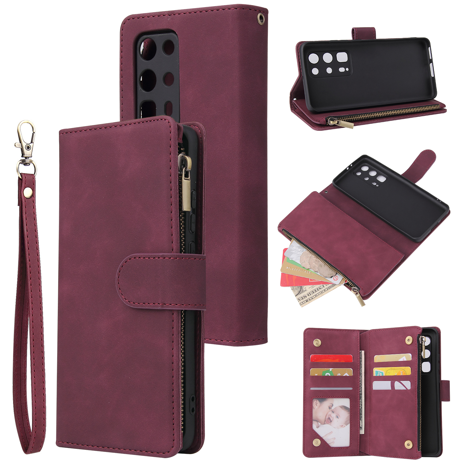 For HUAWEI P40 pro plus Zipper Purse Leather Mobile Phone Cover with Cards Slot Phone Bracket 5 wine red