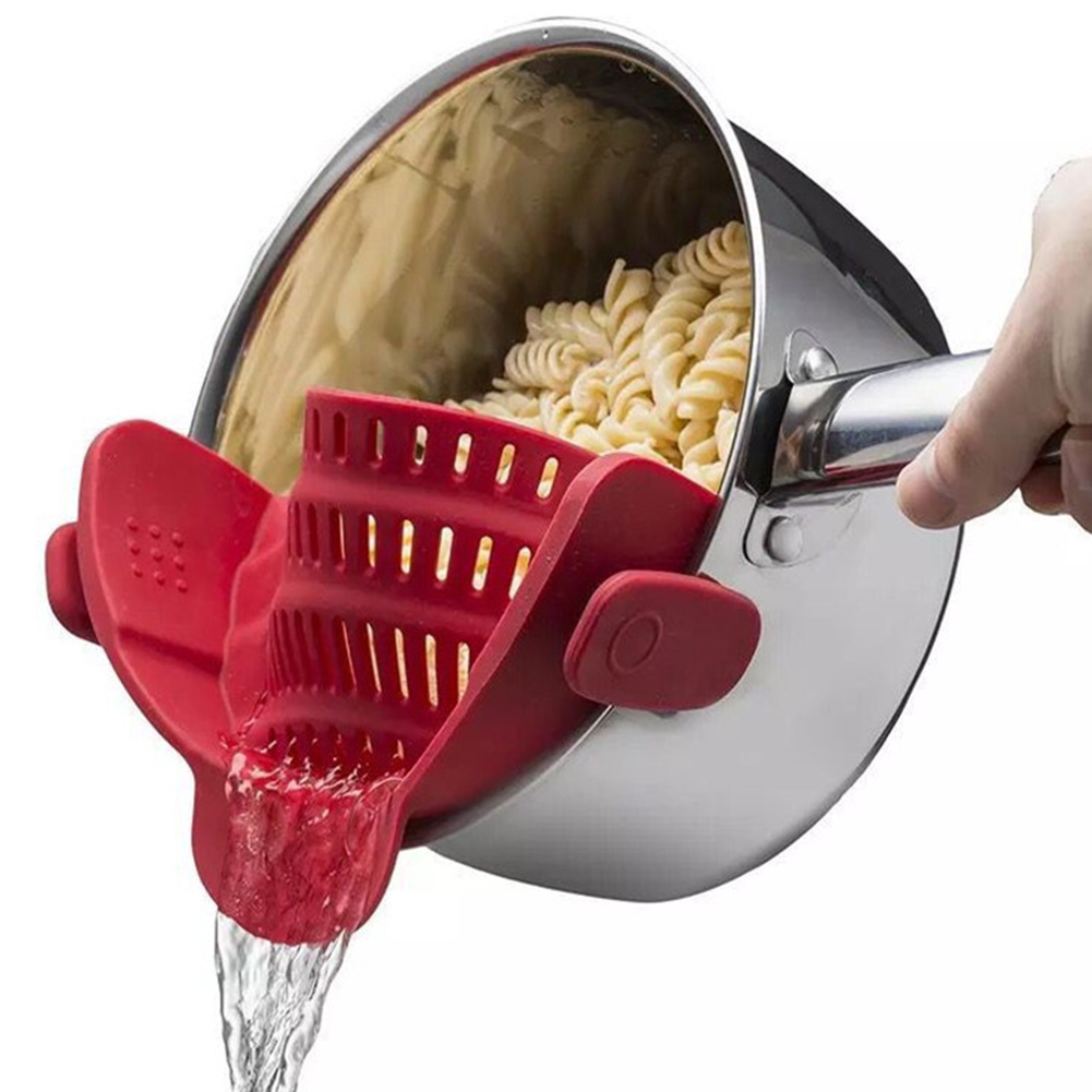Silicone Colanders Strainer Drainer Clip On Pot For Draining Excess Liquid Kitchen Cookware red