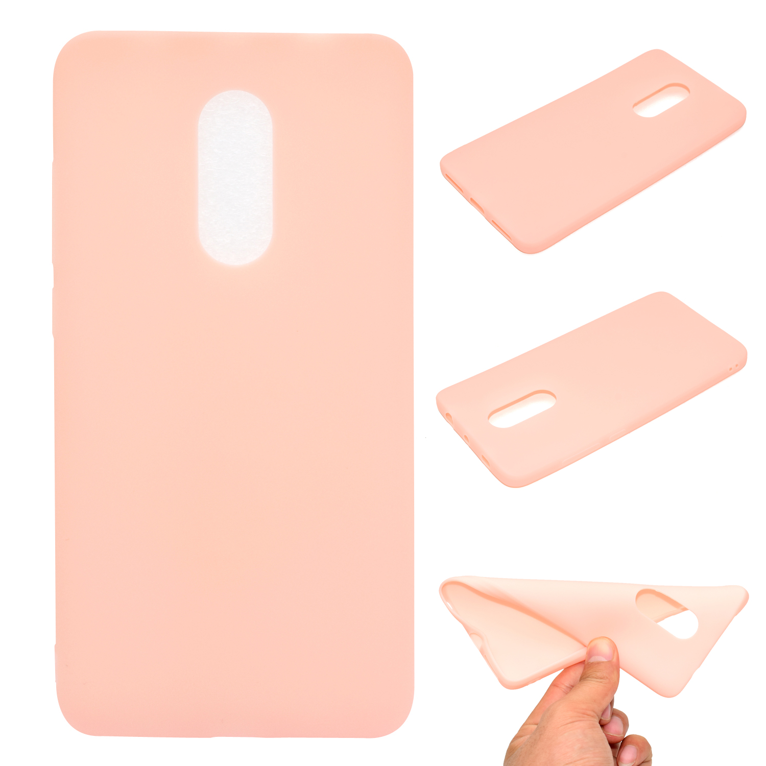 for XIAOMI Redmi NOTE 4X/NOTE 4 Lovely Candy Color Matte TPU Anti-scratch Non-slip Protective Cover Back Case Light pink