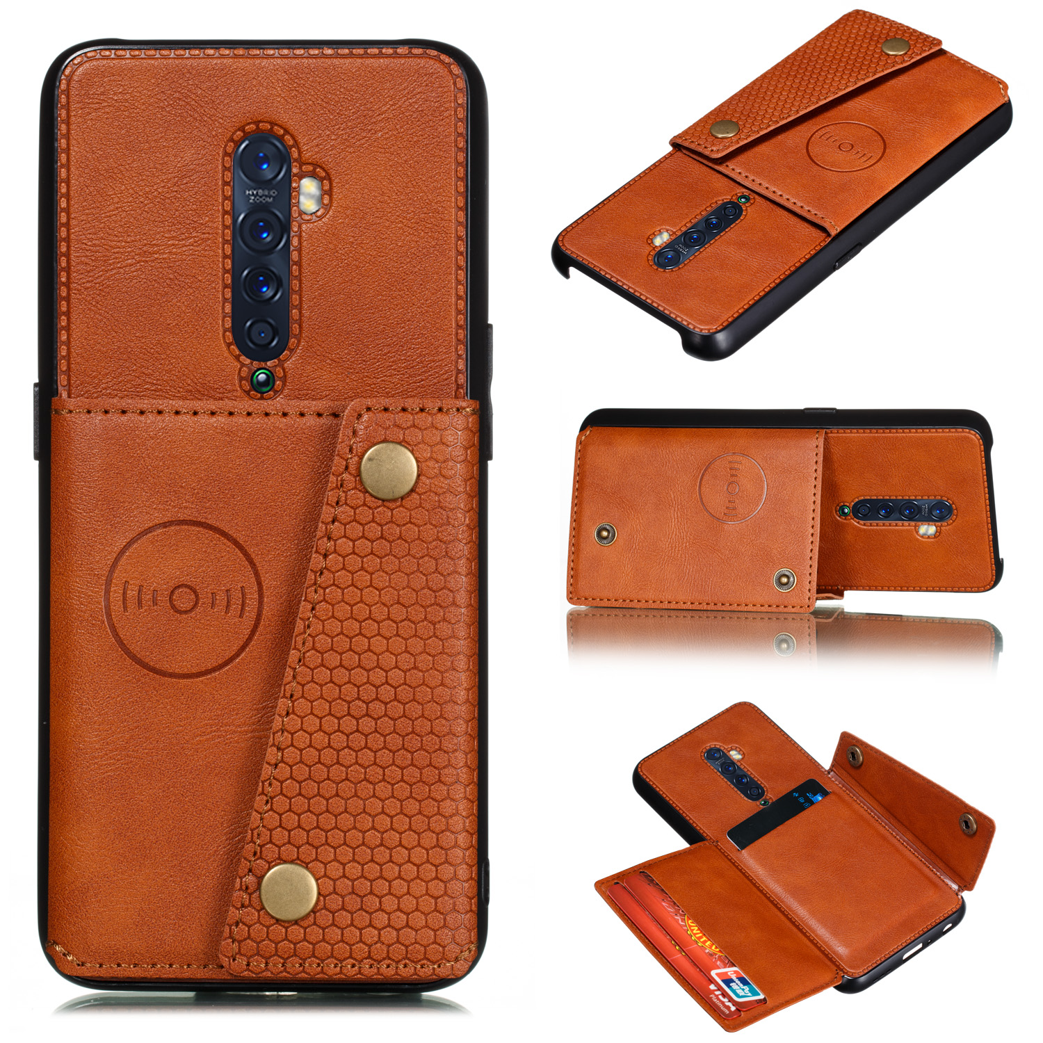 For OPPO A9 2020/Realme XT/Reno 2 Mobile Phone Shell Classic Textured Pattern Buckle Closure Design Anti-fall Smartphone Case  brown