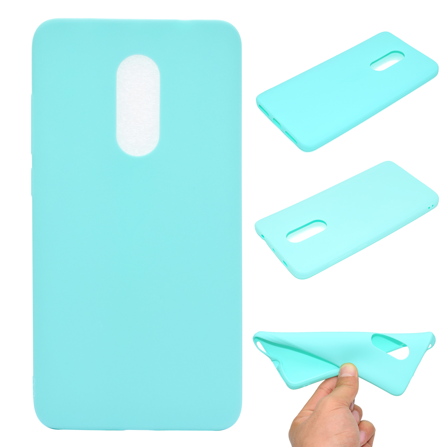 for XIAOMI Redmi NOTE 4X/NOTE 4 Lovely Candy Color Matte TPU Anti-scratch Non-slip Protective Cover Back Case Light blue
