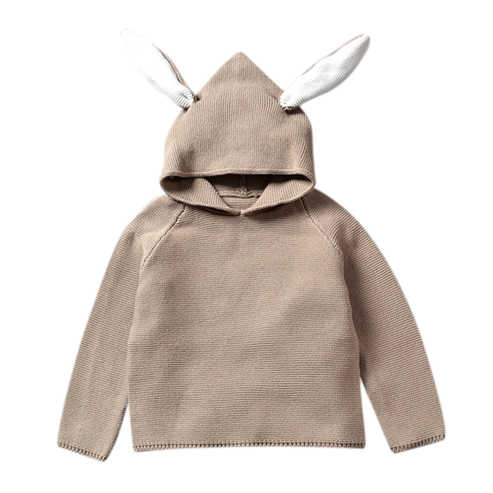 Baby Boy Girl Sweater Cotton Pullover Children Knit Blouse with Cute Rabbit Bunny Ears