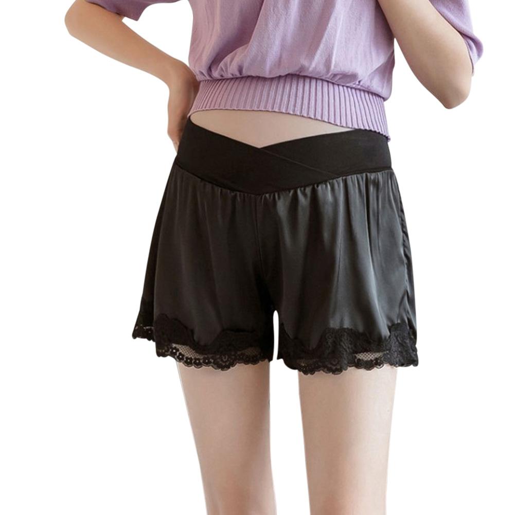 Abdominal Shorts Summer Pregnant Women Casual Lace Maternity Pants black_L