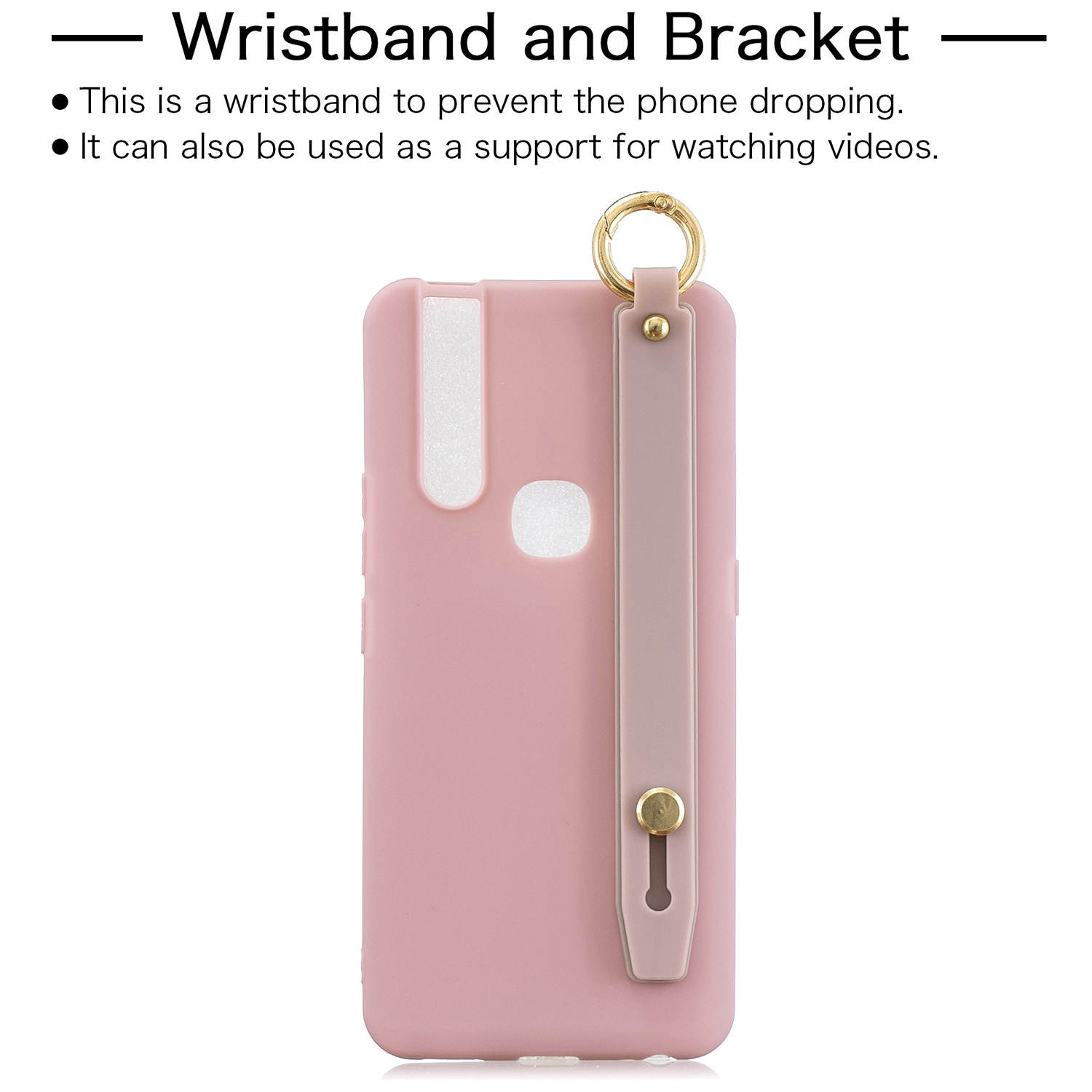 For VIVO V15 Simple Solid Color Chic Wrist Rope Bracket Matte TPU Anti-scratch Non-slip Protective Cover Back Case 11 Lotus pink