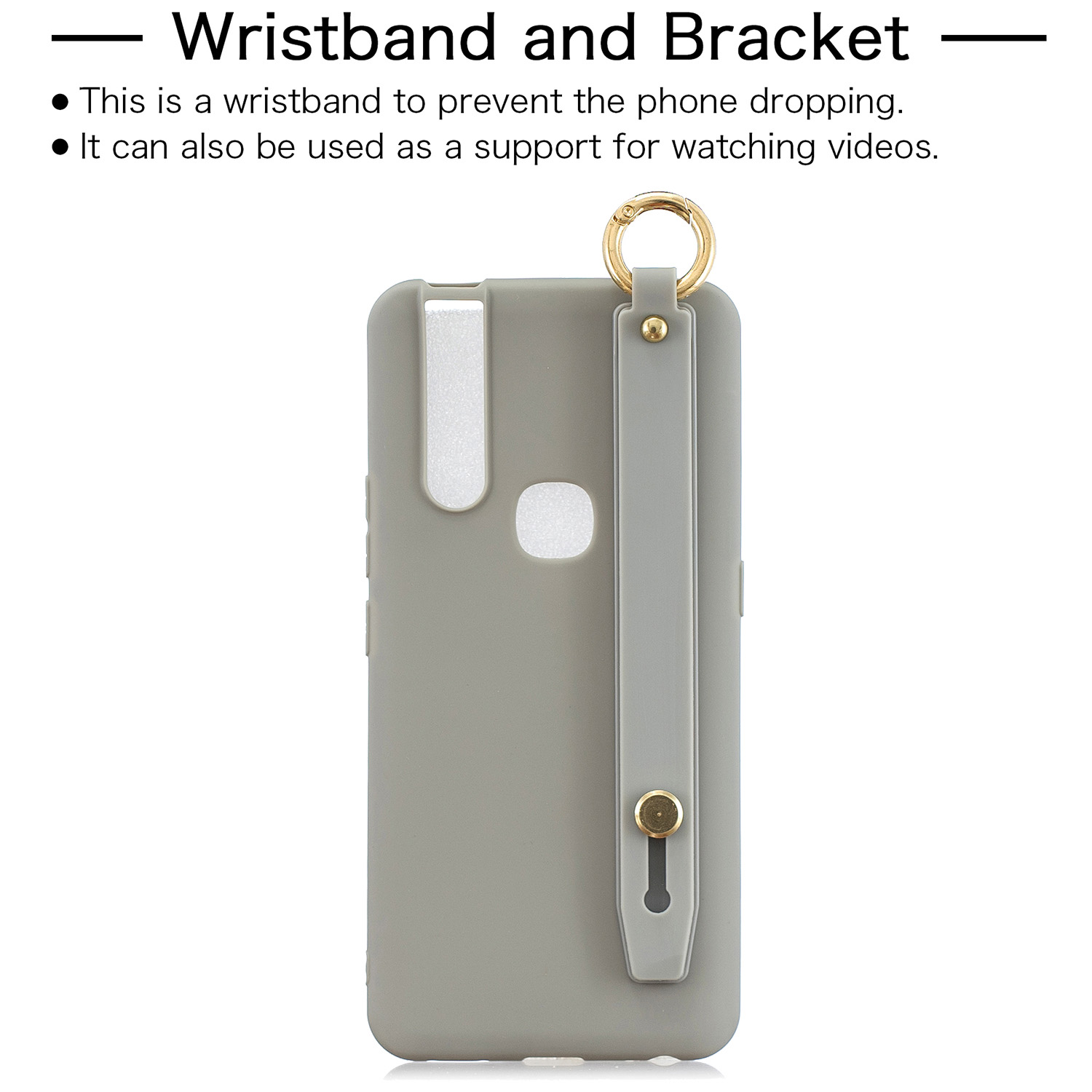 For VIVO V15 Simple Solid Color Chic Wrist Rope Bracket Matte TPU Anti-scratch Non-slip Protective Cover Back Case 12 gray